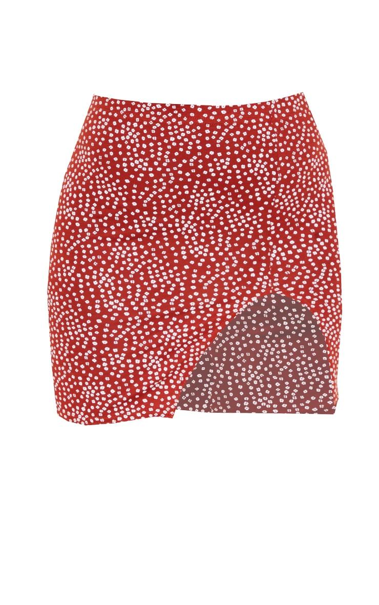 Rust Ditsy Floral Print Jersey Mini Skirt 6