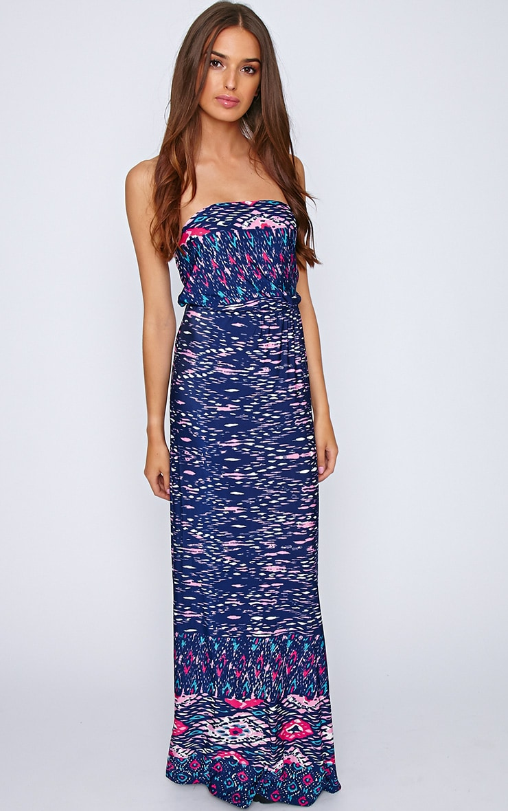 Camden Blue Print Strapless Maxi Dress  3