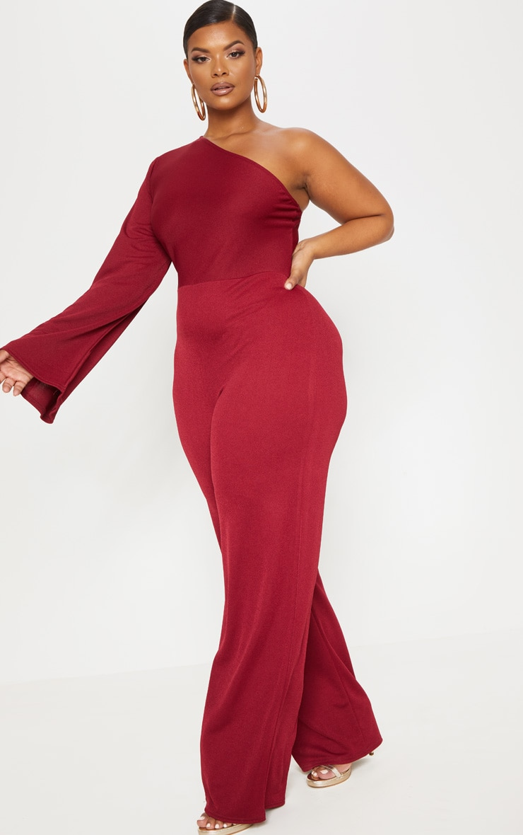 Plus Burgundy One Shoulder Jumpsuit 4