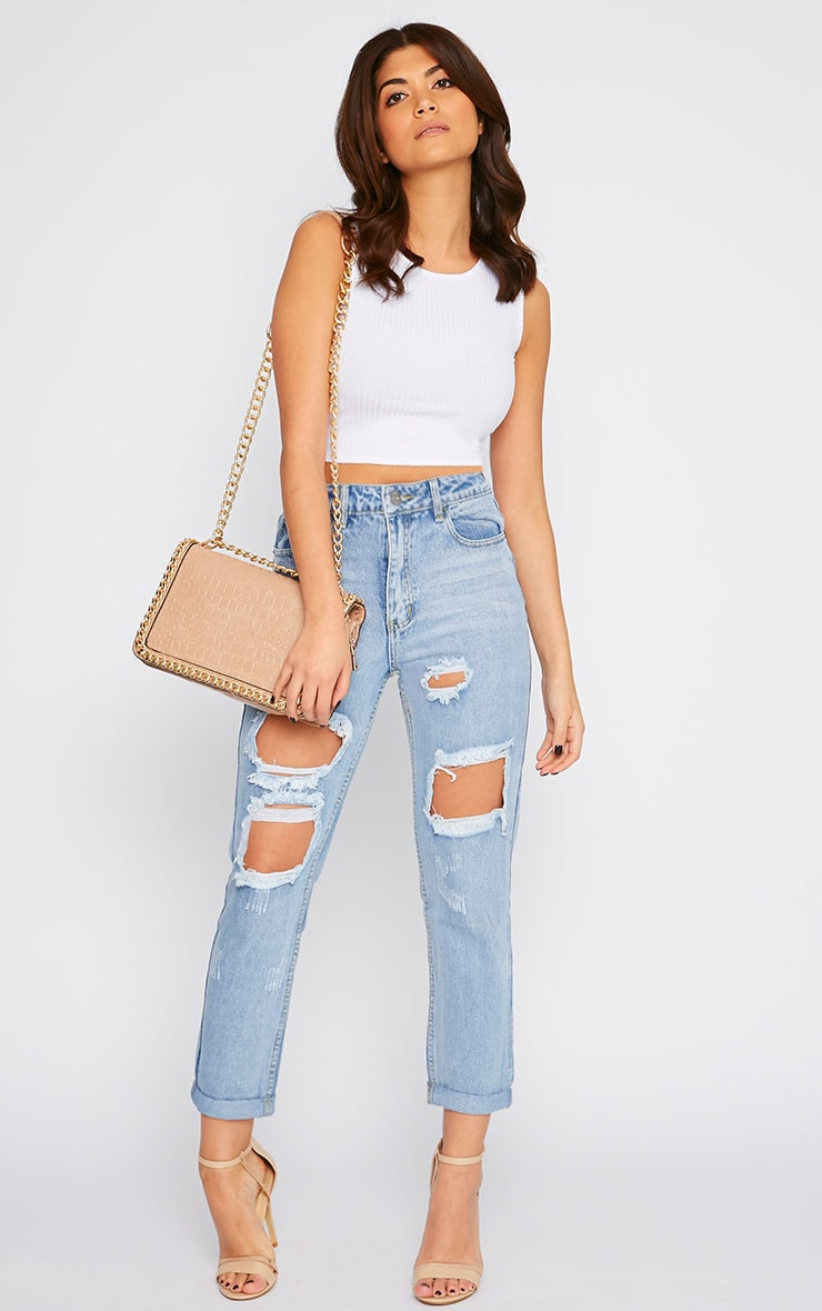 Basic White Ribbed Crop Top 5