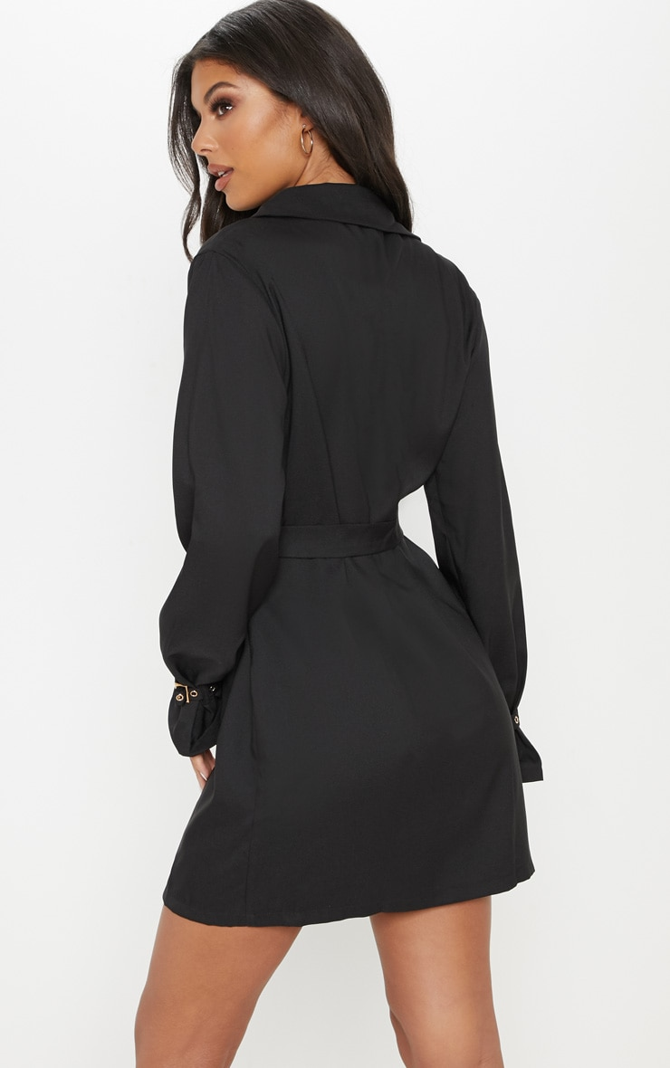 Black Buckle Detail Blazer Dress 2