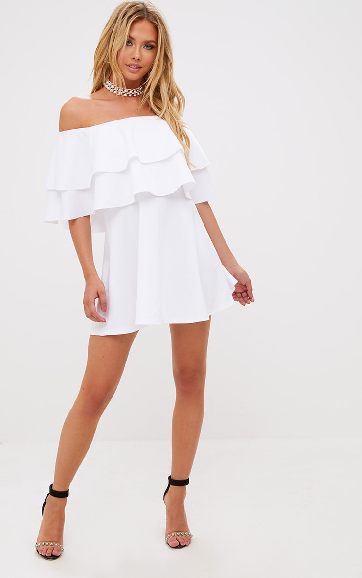 White Frill Bardot Skater Dress 1