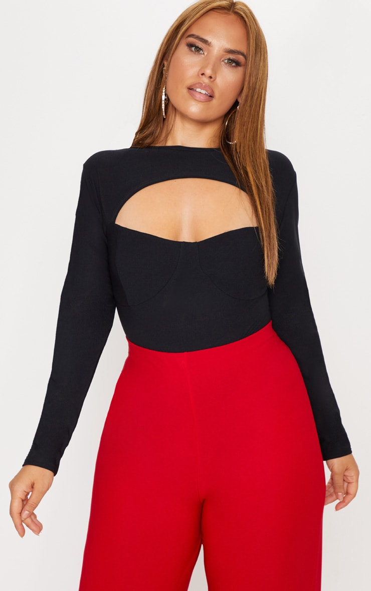 Plus Black Cut Out Detail Bust Cup Bodysuit 1