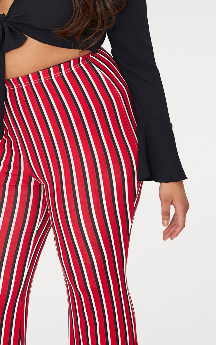 Plus Red Vertical Stripe Flared Trousers 5