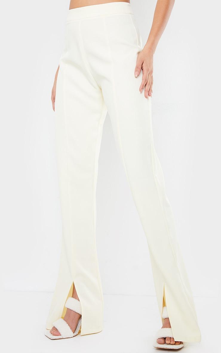 Cream Woven Seam Front Split Hem Flared Pants 2