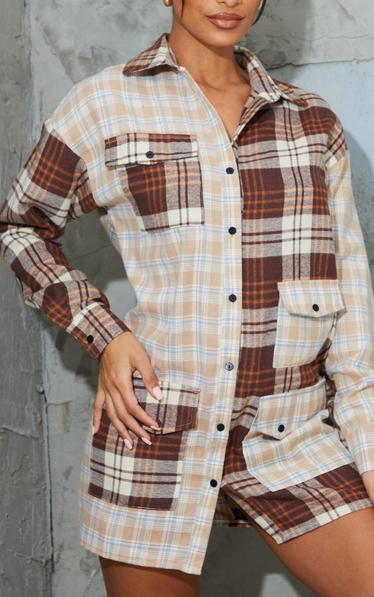 Stone Contrast Check Multi Pocket Detail Shirt Dress 4
