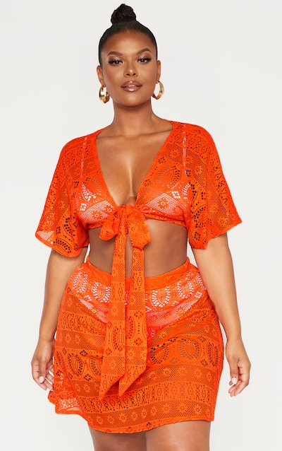 184212570b Plus Bright Orange Crochet Tie Front Crop Top PrettyLittleThing Sticker