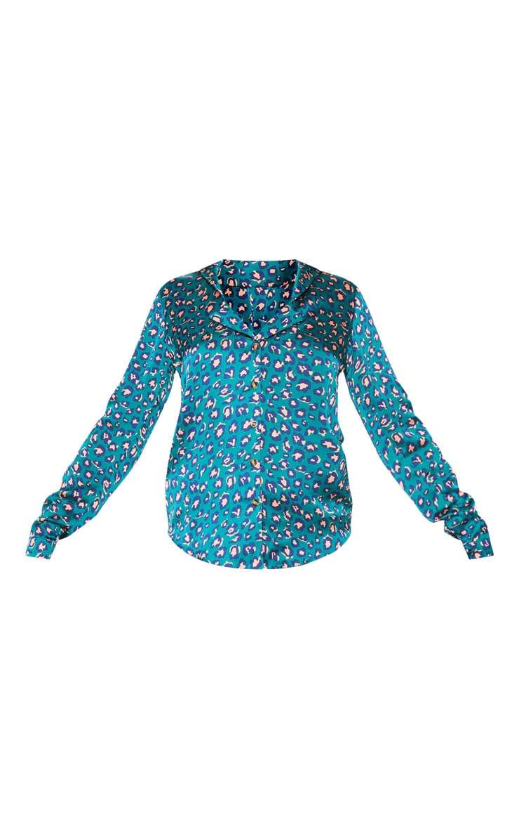 Teal Leopard Print Satin Shirt 3