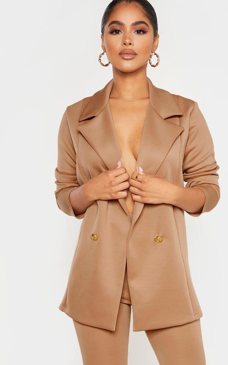 Petite Camel Oversized Gold Button Blazer  1