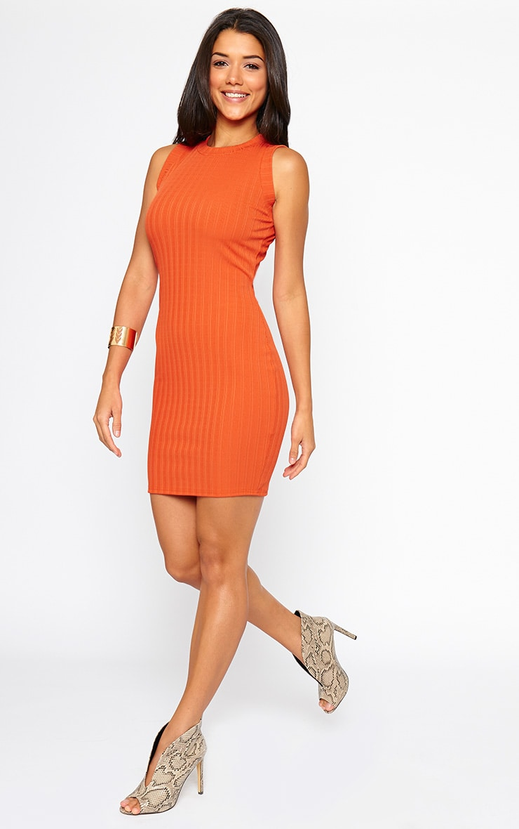 Stefany Orange Ribbed Mini Dress 4