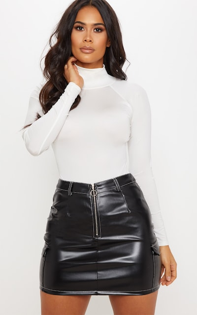 1a481589761 Black Faux Leather Contrast Stitch Mini Skirt