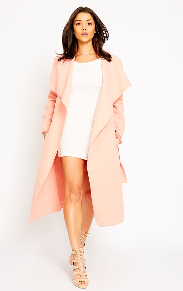 Veronica Peach Waterfall Coat 1