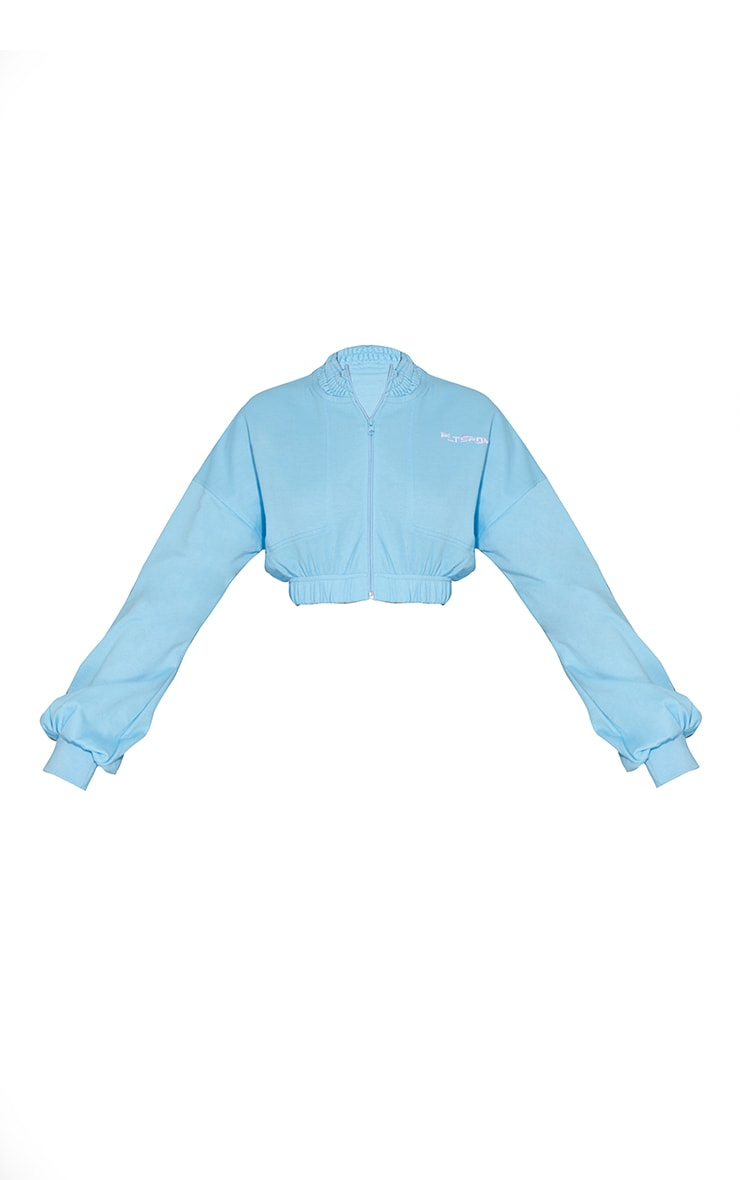 PRETTYLITTLETHING Blue Embroidered Cropped Zip Up Sweat 5