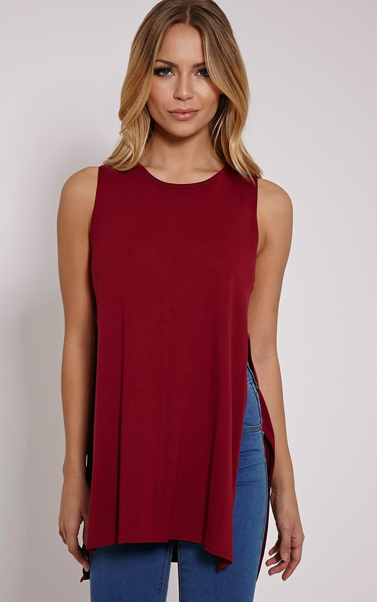 Basic Burgundy Side Split Vest Top 1