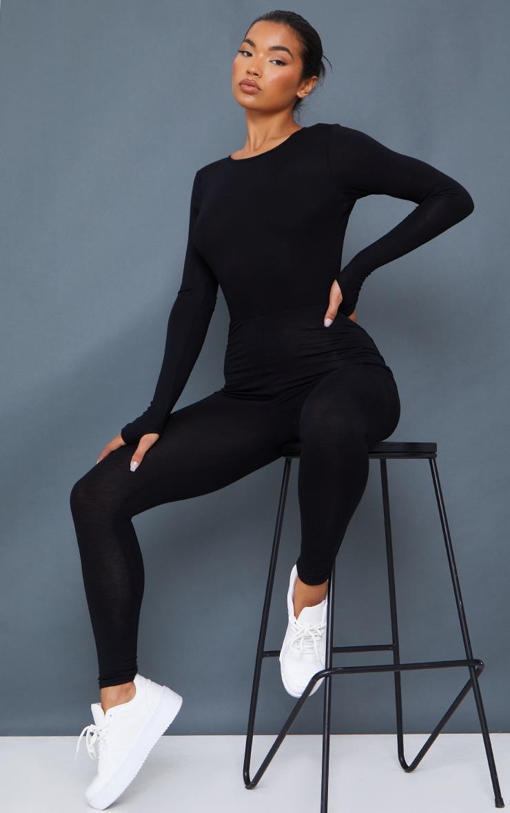 Black Thumbhole Open Back Jersey Jumpsuit 2