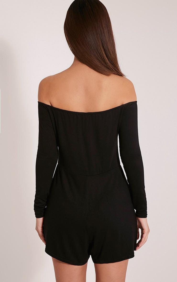 Basic combishort bardot en jersey noir 2