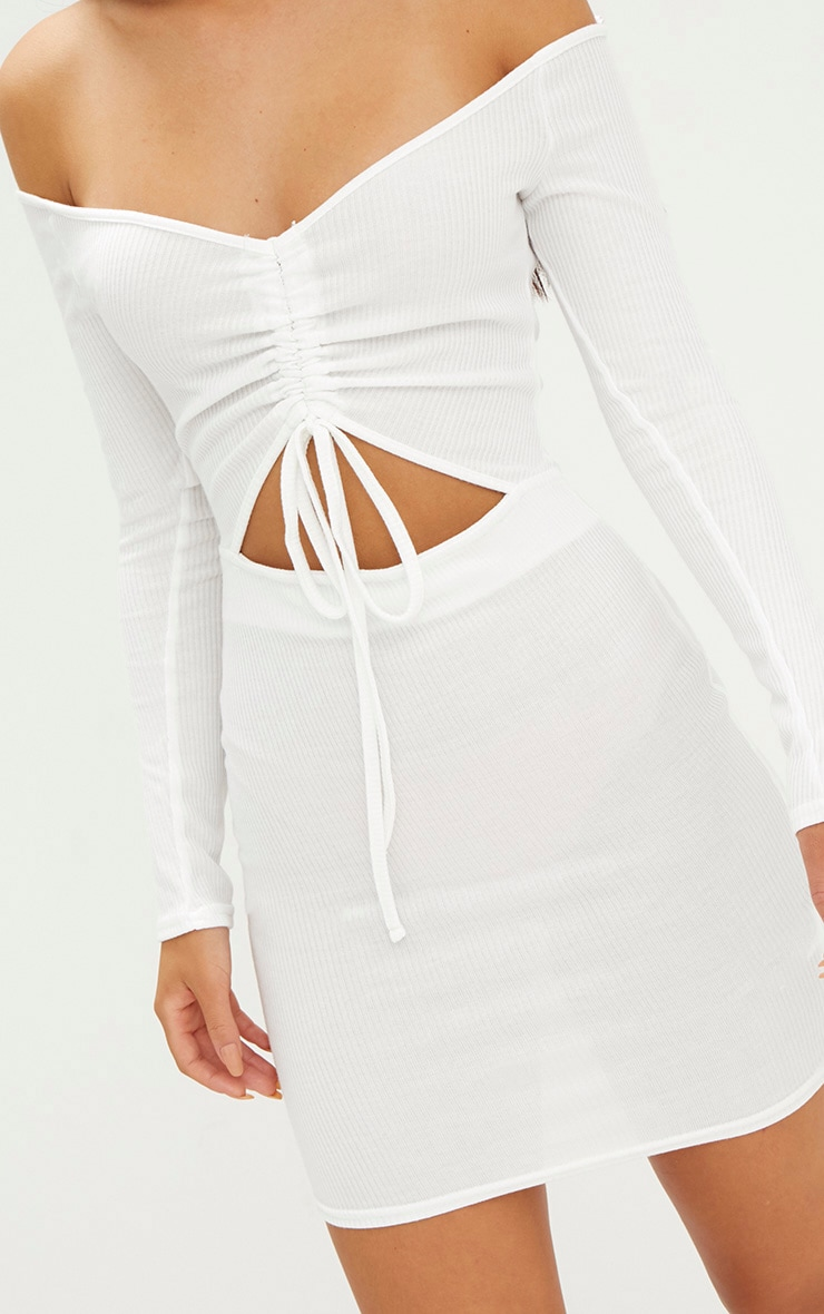 White Ribbed Ruched Plunge Bodycon Dress 5