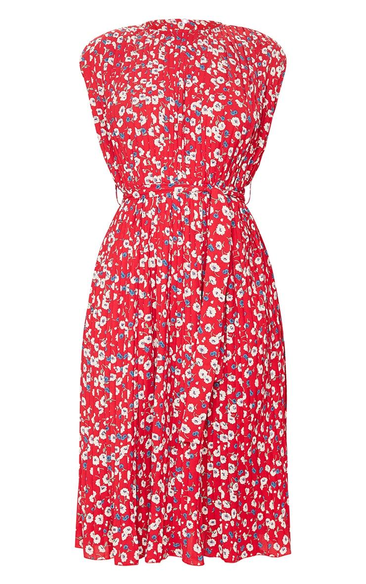Red Floral Pleated Sleeveless Midi Dress 5