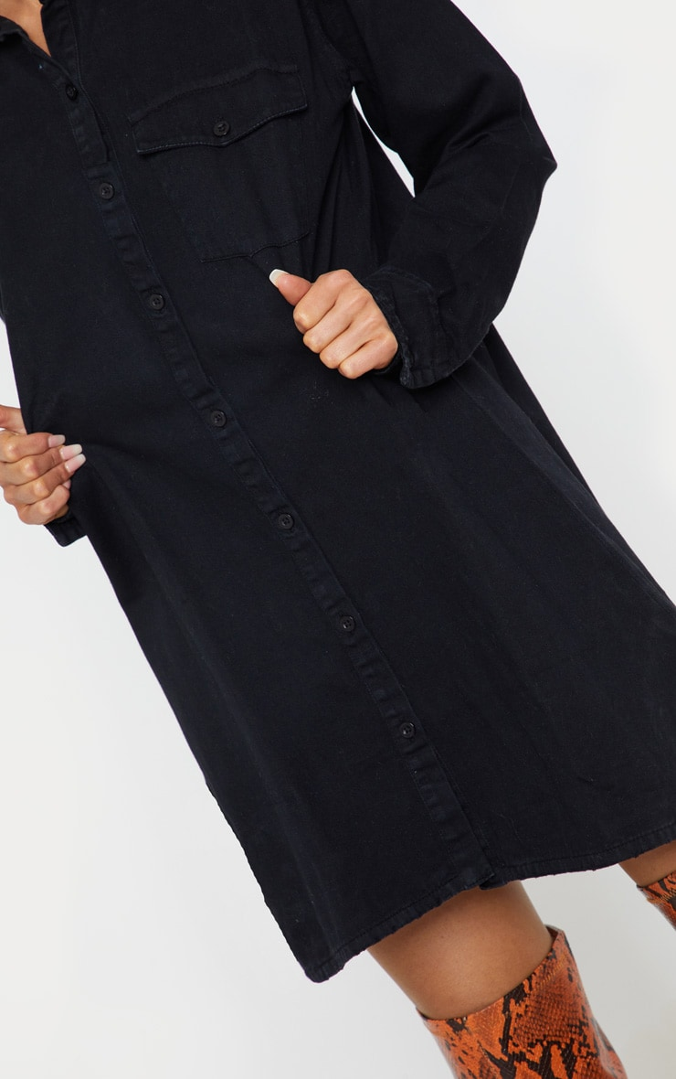 Black Oversized Denim Shirt Dress 5