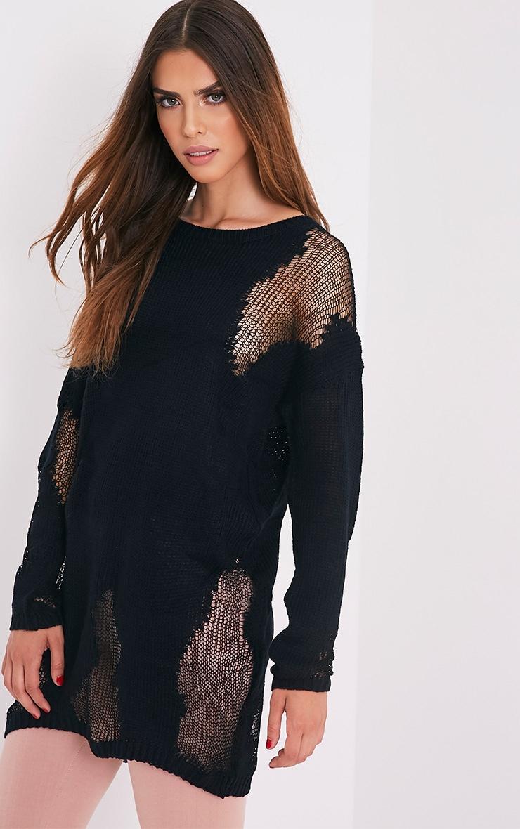 Romonae pull noir tricoté à déchirures effilochées 1