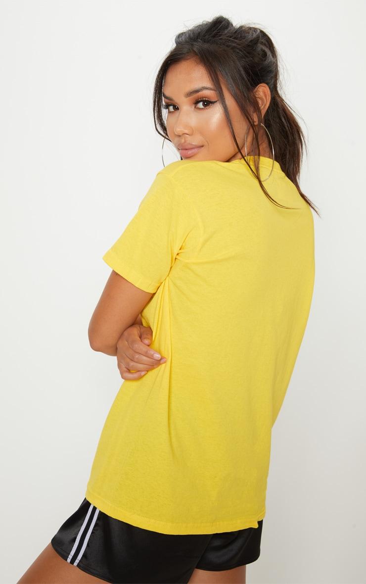 Yellow California Slogan Oversized T Shirt  2