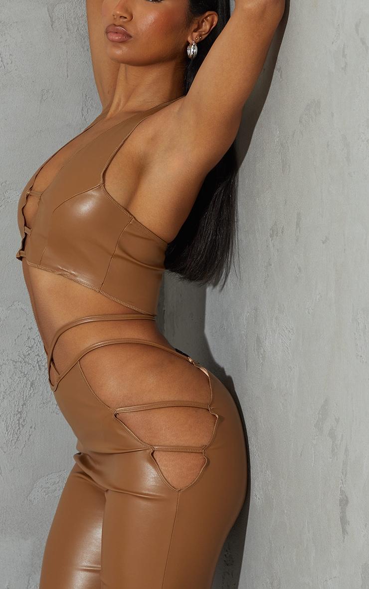 Camel Faux Leather Cut Out Front Halterneck Crop Top 4