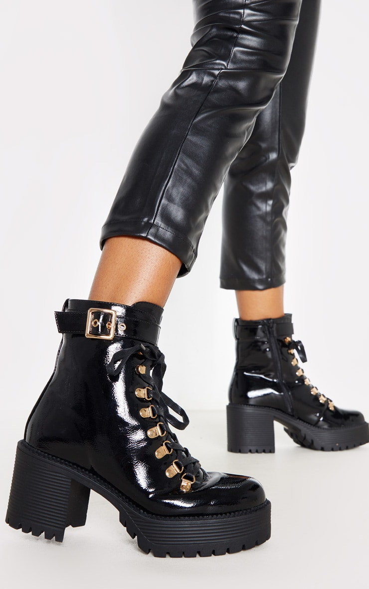Black Ankle Buckle Cleated Sole Boot 2