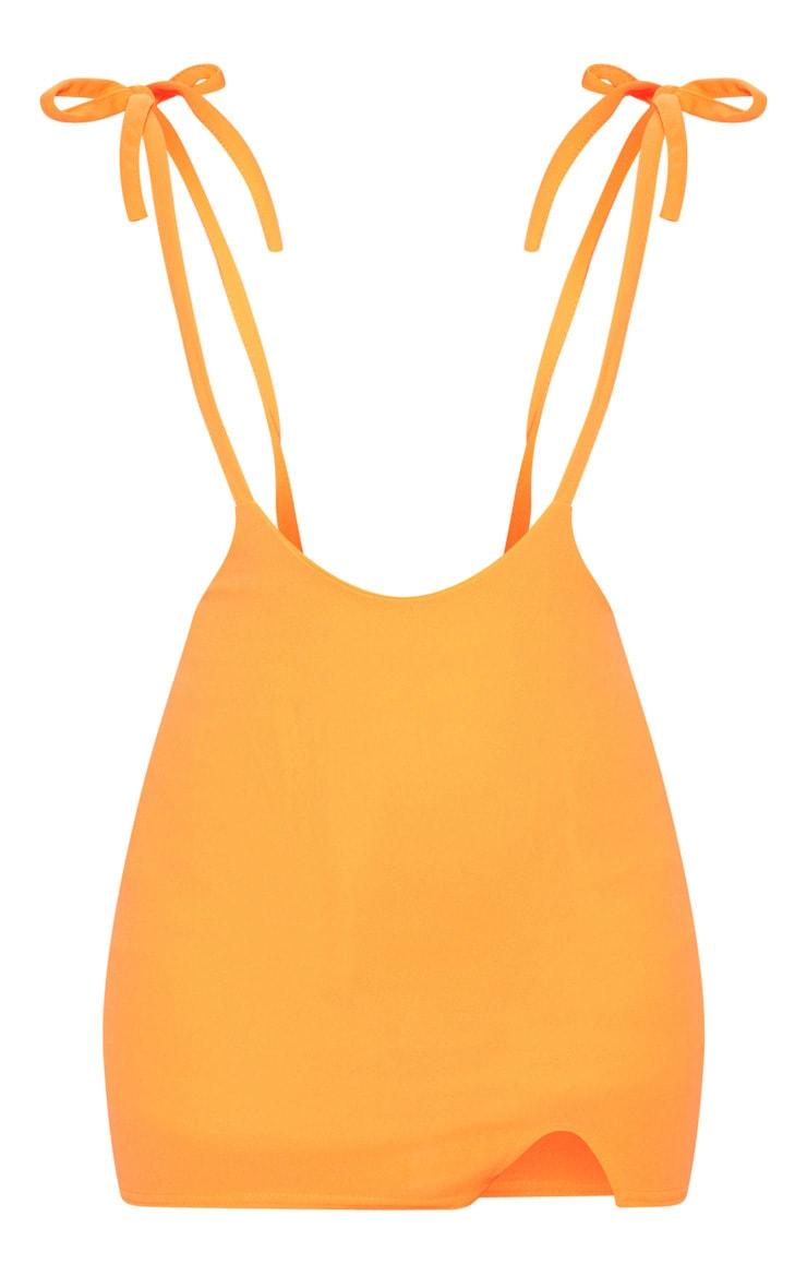 Neon Orange Dungaree Style Mini Skirt 3