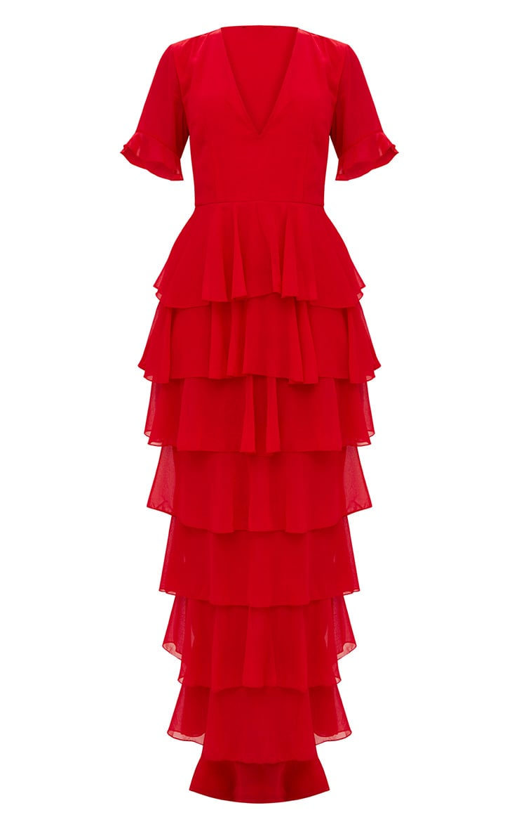Red Chiffon Ruffle Layer Maxi Dress 4
