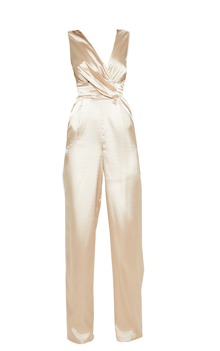 Champagne Wrap Over Ruched Waist Jumpsuit 3