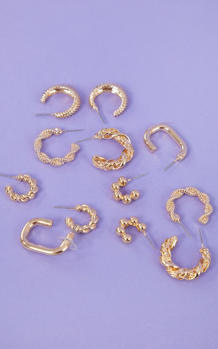 Gold Assorted Ribbed 6 Pack Hoop Earrings 3