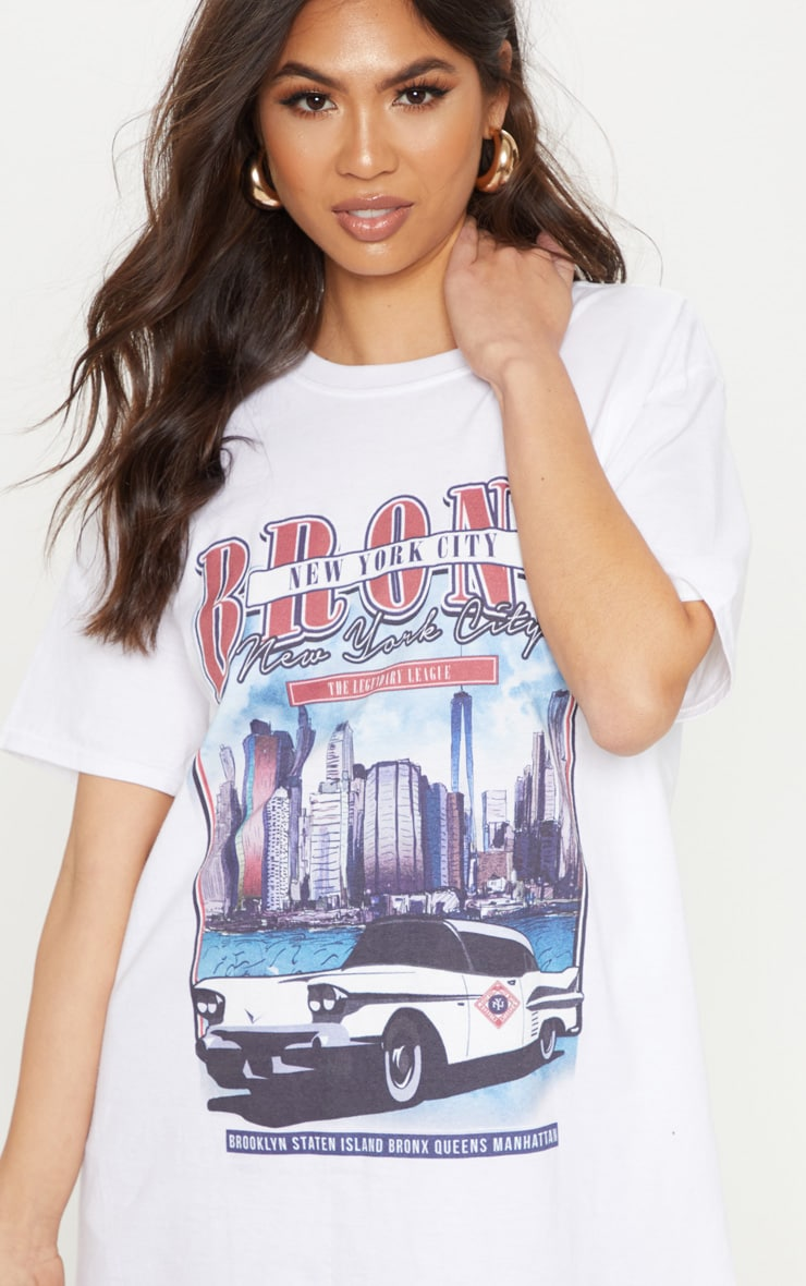 White Vintage Police Print Oversized T Shirt 5