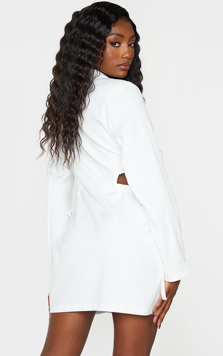 White Cut Out Waist Detail Button Down Blazer Dress 2