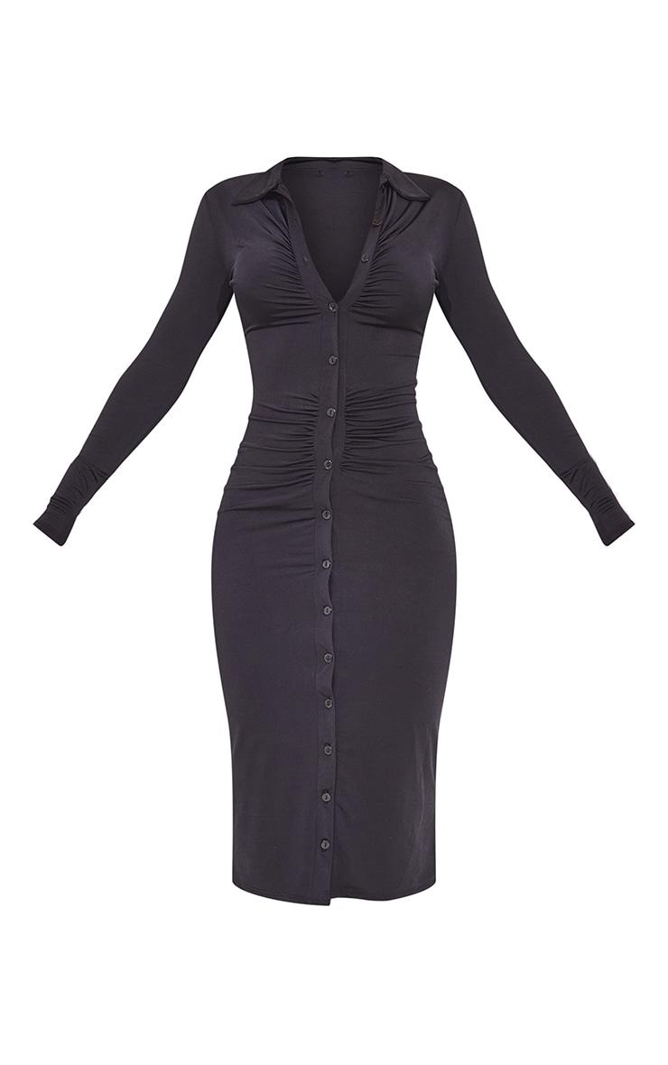 Black Slinky Ruched Button Down Midi Shirt Dress 5