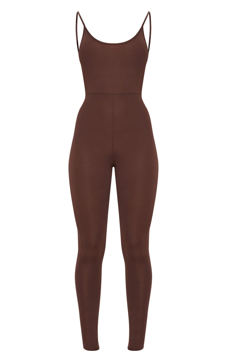 Chocolate Brown Scoop Neck Backless Jumpsuit  3