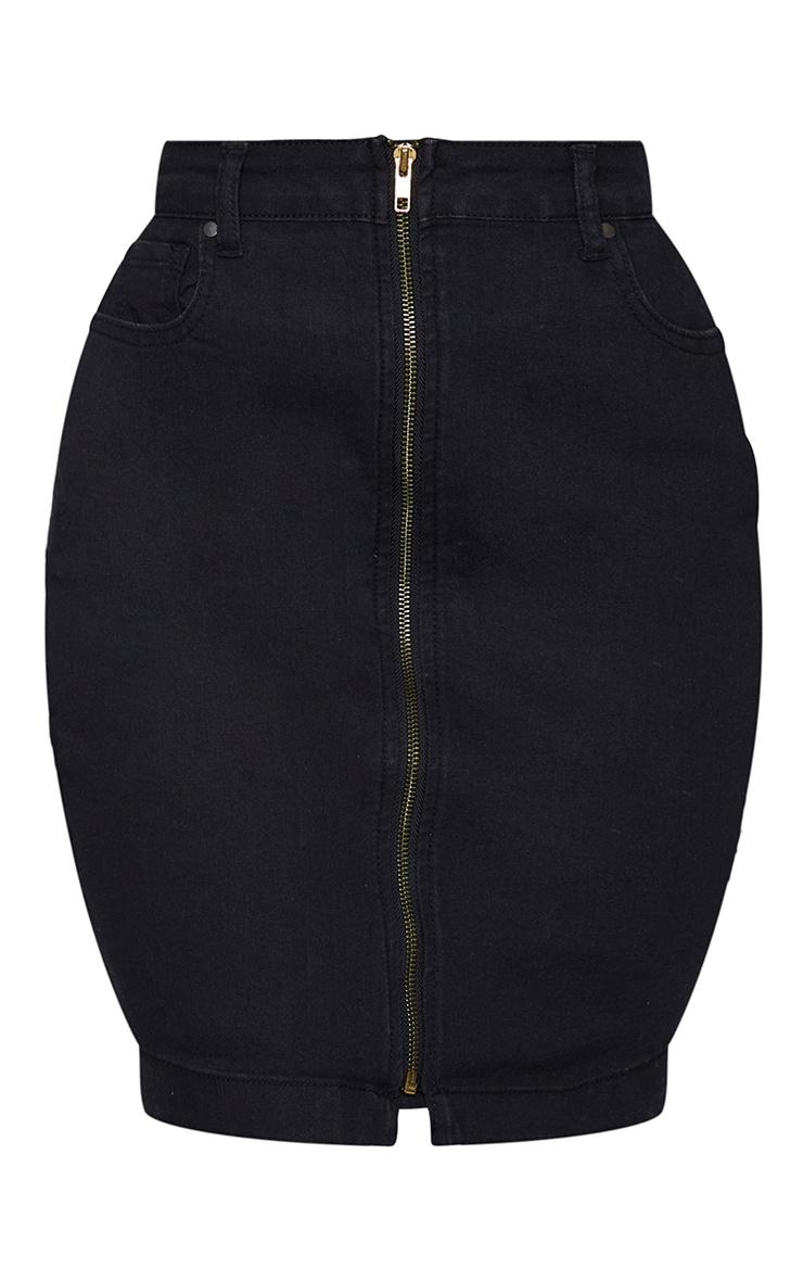 Shape Black Zip Detail Denim Bodycon Skirt 6