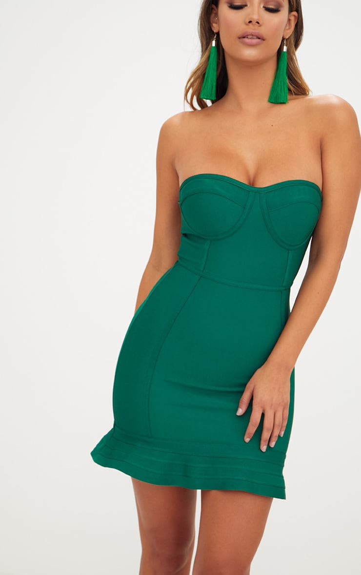 Emerald Green Bandage Frill Hem Bodycon Dress 5