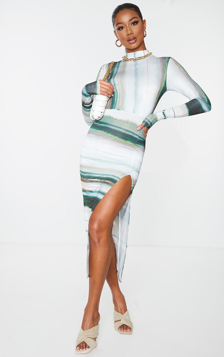 Green Linear Print High Neck Long Sleeve Slinky Midi Dress 3