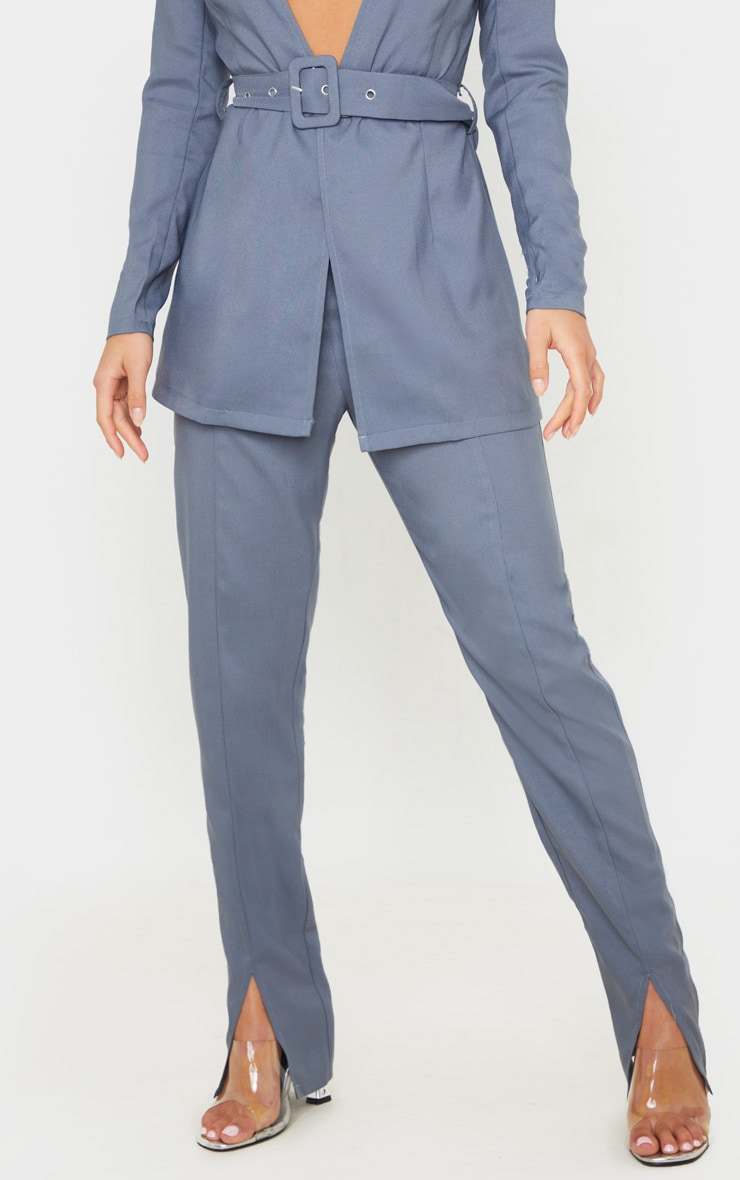 Petite Petrol Blue Split Hem Woven Suit Pants 2