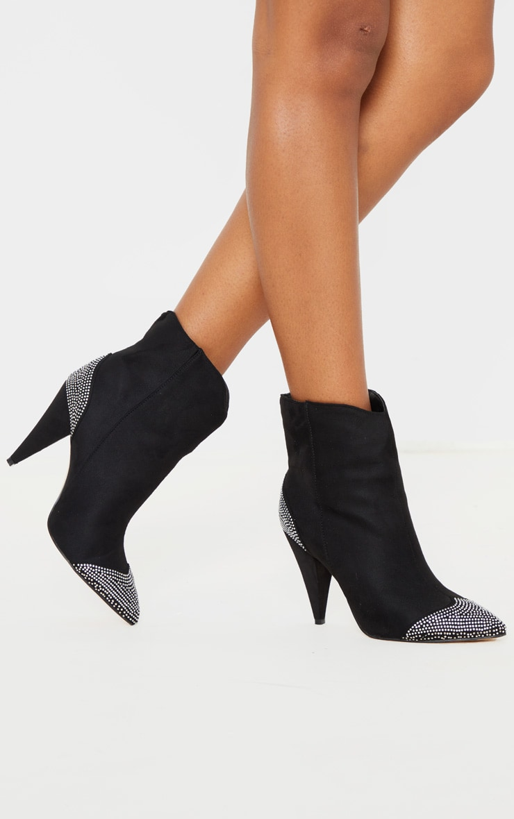 Black Diamante Toe Cone Heel Ankle Boot 1