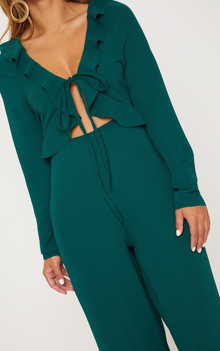 Petite Emerald Green Long Sleeve Frill Tie Front Jumpsuit 5