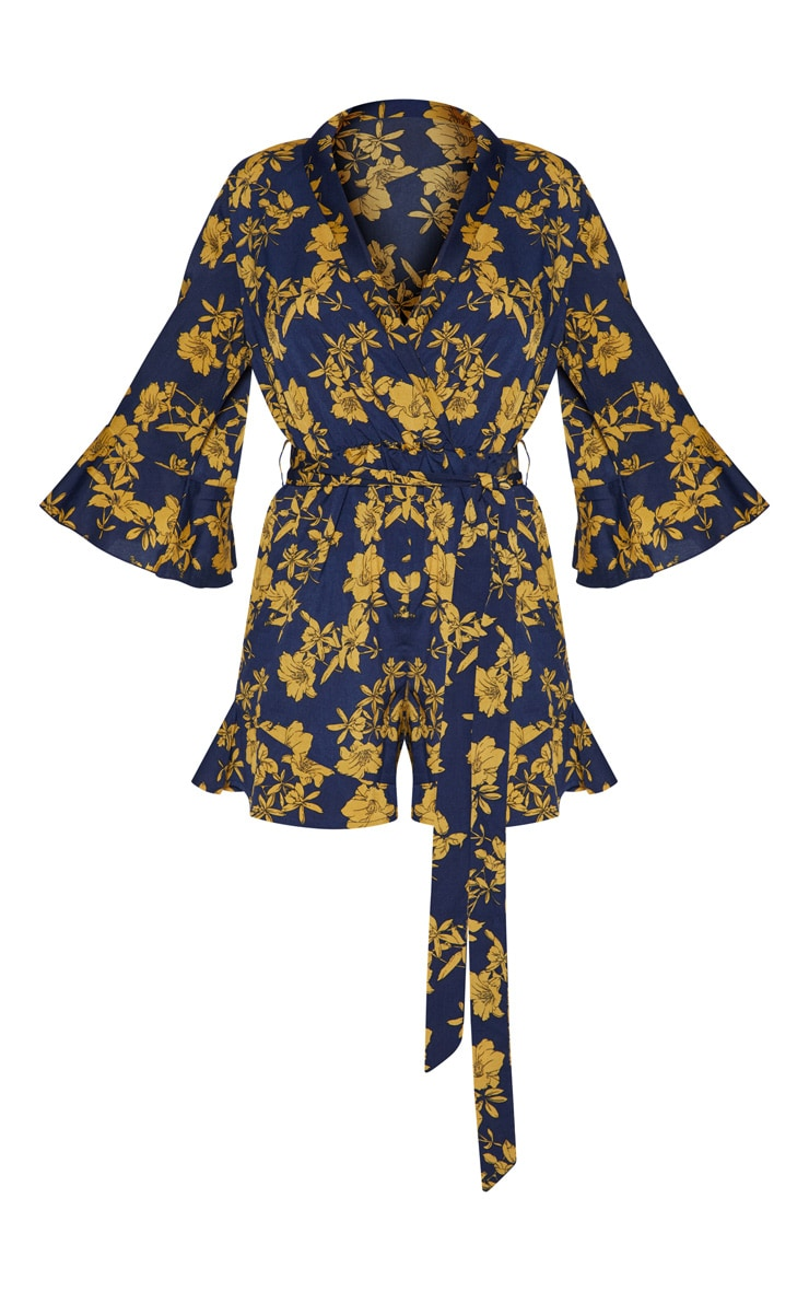 Navy Floral Kimono Romper  4