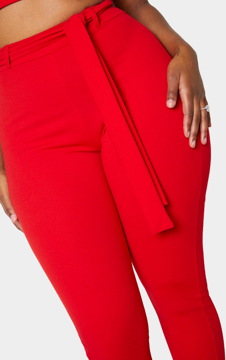 Shape Red Belted Tapered Pants 5