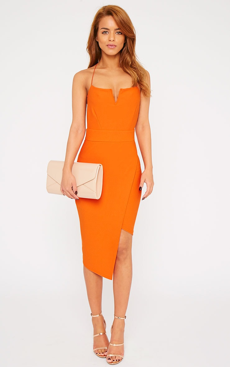 Raye Orange Cross Back Asymmetric Dress 1