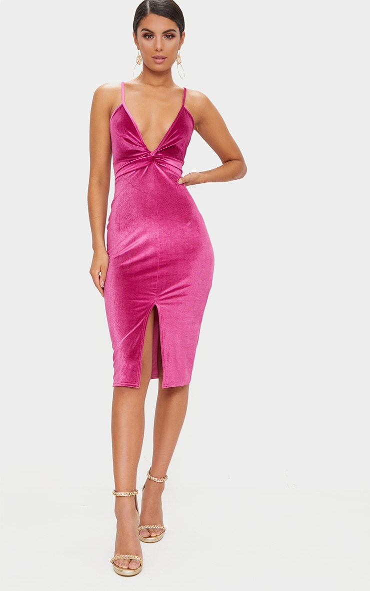 Fuchsia Velvet Plunge Twist Front Midi Dress 1
