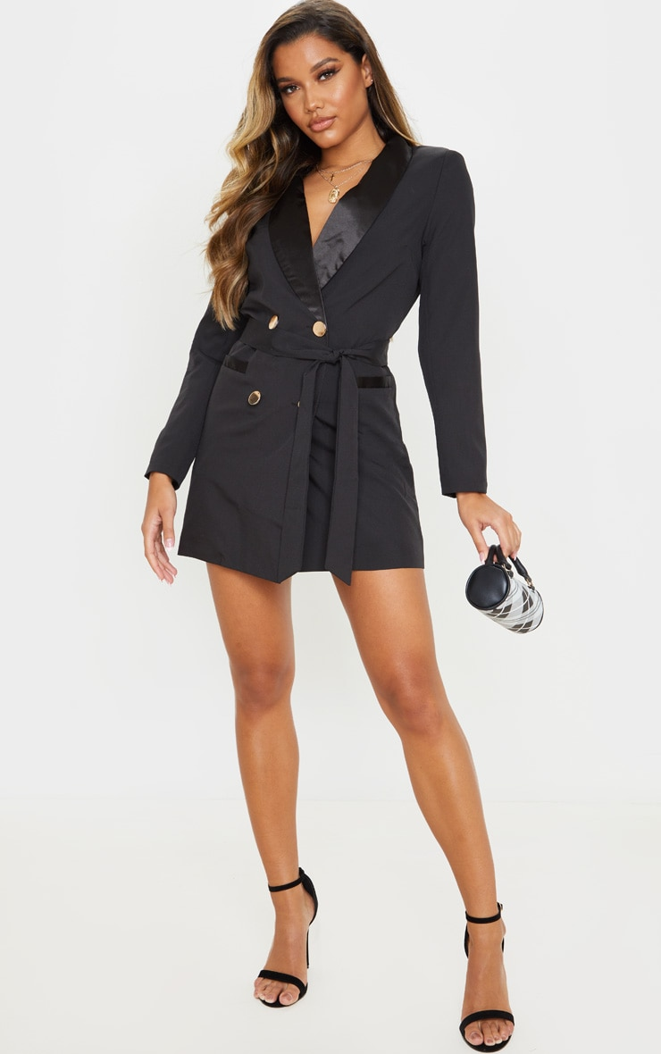 Black Gold Button Satin Detail Blazer Dress 4