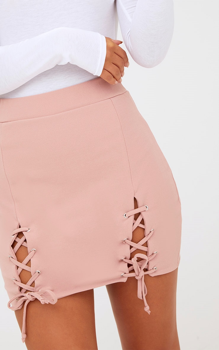 Pink Double Split Lace Up Mini Skirt 6
