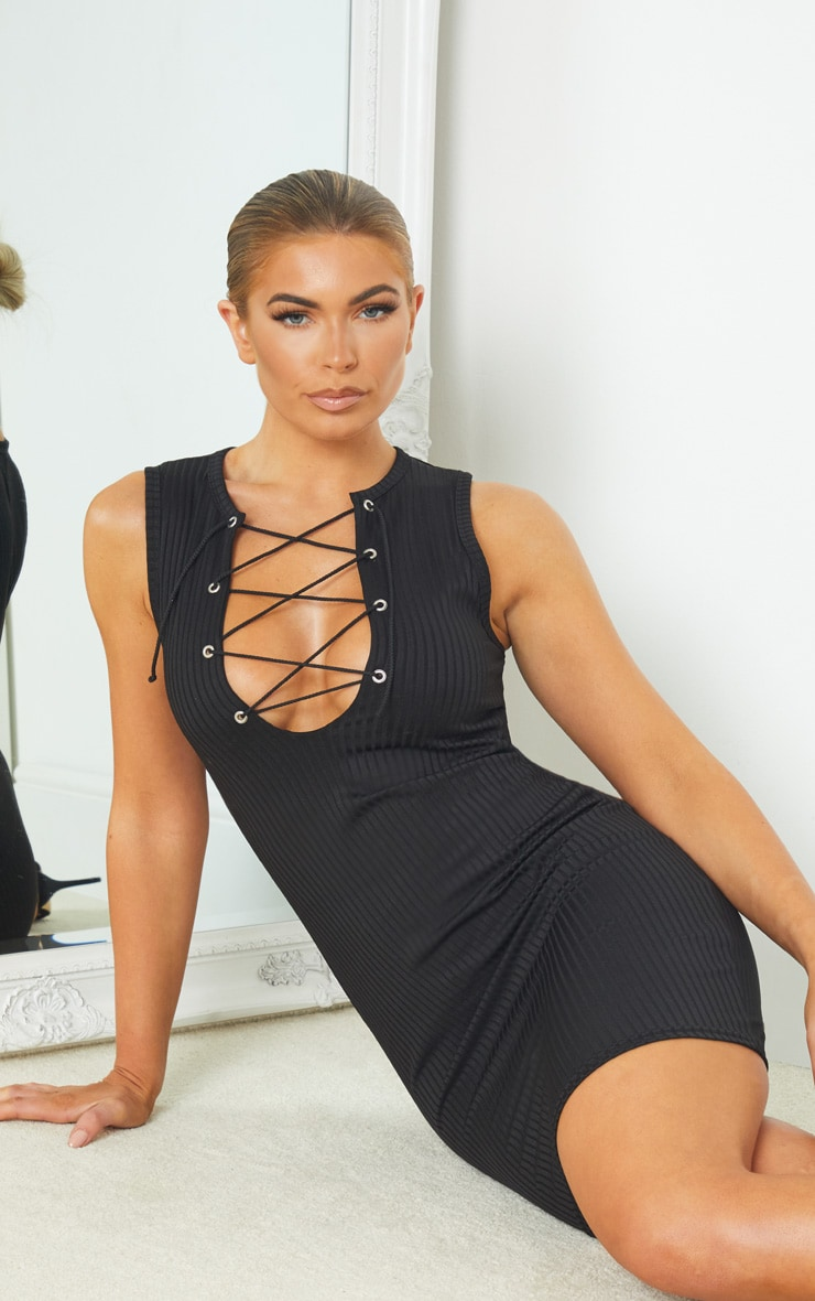 Black Ribbed Sleeveless Lace Up Detail Bodycon Dress 1