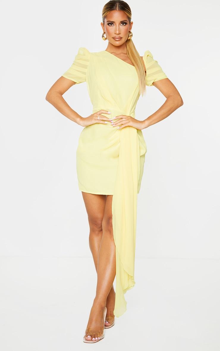 Lemon Chiffon One Shoulder Draped Bodycon Dress 1