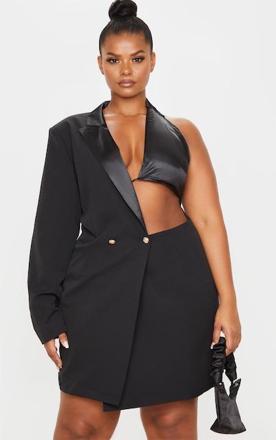Plus Black One Shoulder Satin Gold Button Blazer Dress